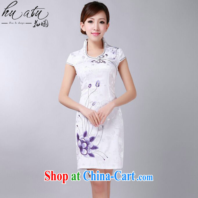 spend the summer dresses Chinese New female Chinese improved version, for pure cotton embroidered short dresses daily dress such as the color 2 XL