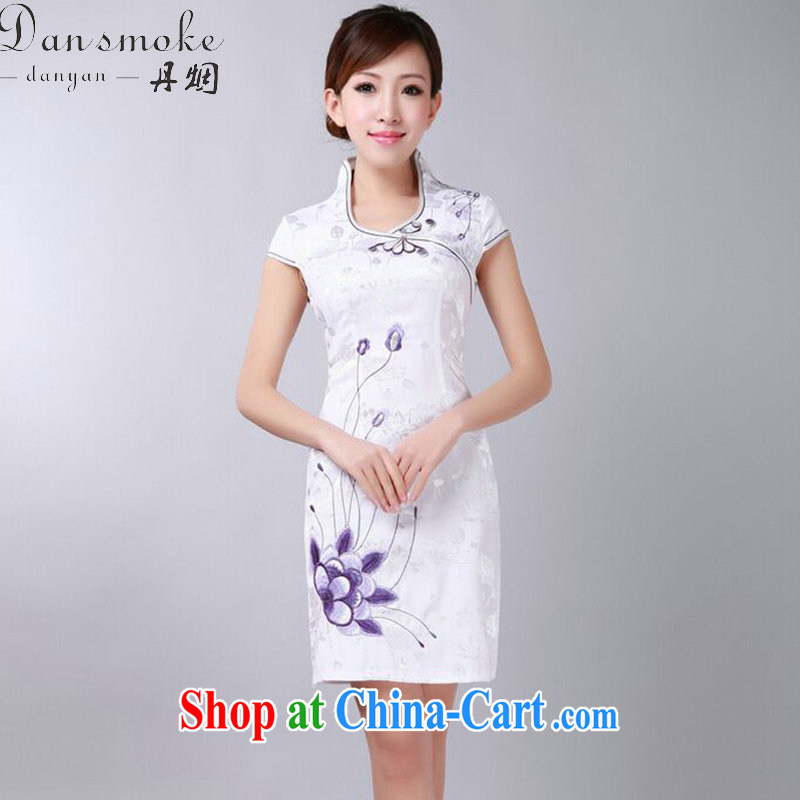 Dan smoke summer dresses Chinese New female Chinese improved version, for pure cotton embroidered short dresses daily dress such as the color 2 XL