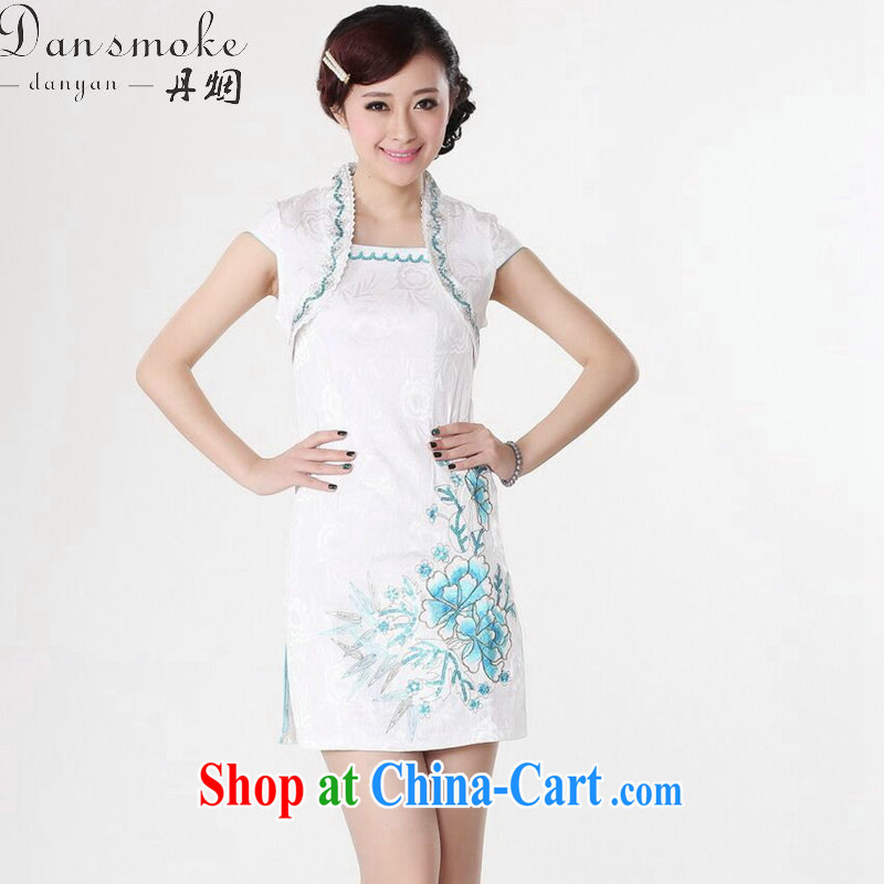 Bin Laden smoke Chinese qipao summer wear new clothes Chinese clothing improved version the collar jacquard cotton mini short cheongsam as color 2XL