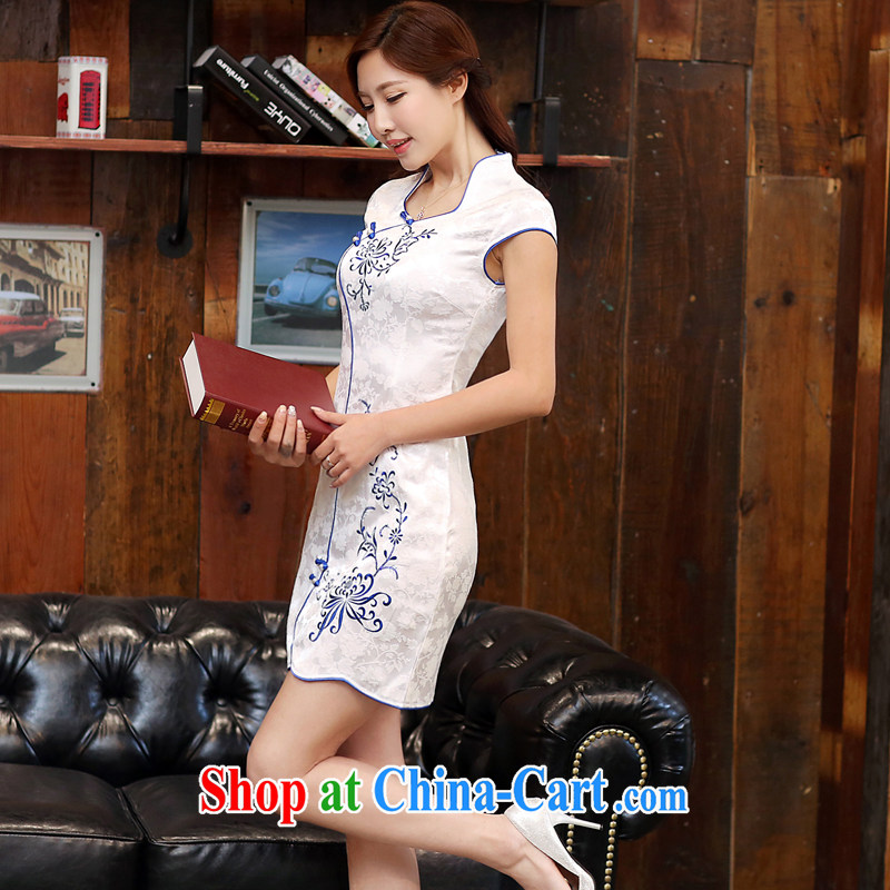 The Estee Lauder poetry 2015 new summer fashion improved cheongsam embroidered short, cultivating graphics thin aura Ms. Short dresses to 986 ends blue Peony XXL