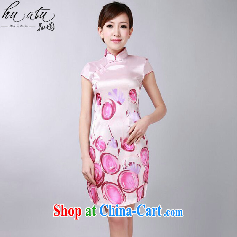 spend the summer with new female Chinese qipao Chinese improved version, for the hard-pressed damask stamp retro short dresses such as the color 2 XL