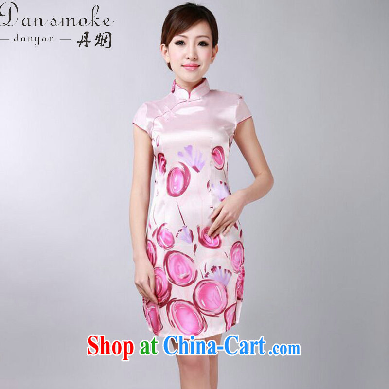 Bin Laden smoke summer new female Chinese qipao Chinese improved version, for a tight damask stamp retro short qipao such as the color 2 XL