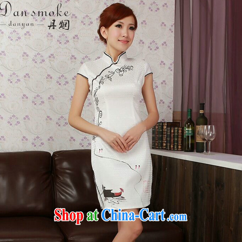 Bin Laden smoke-free summer cheongsam dress Chinese new cotton hand-painted Chinese improved, for low-power's short cheongsam dress figure-color 2 XL