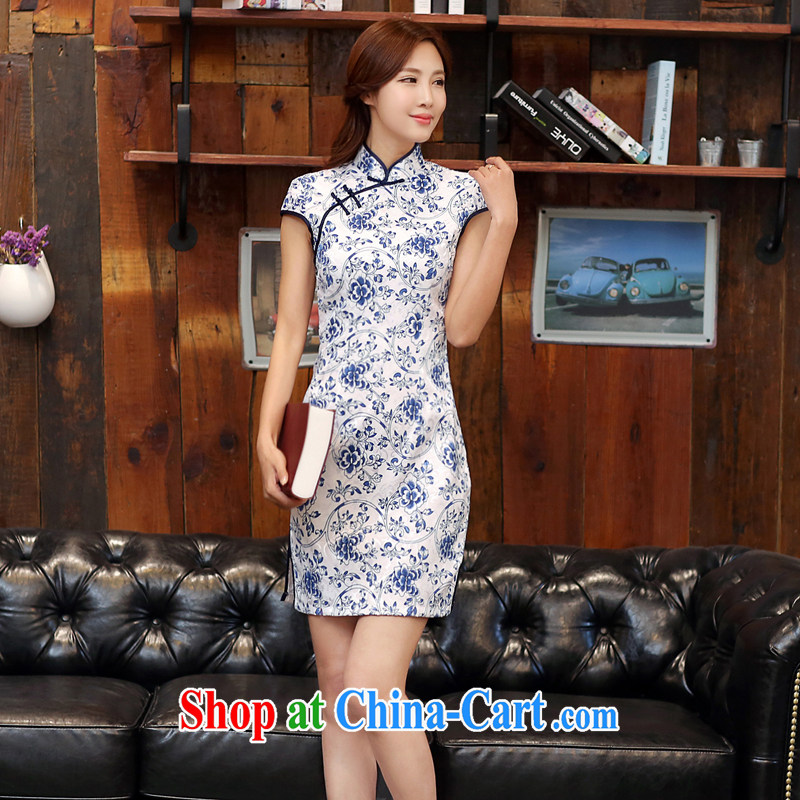 The Diane poetry 2015 new summer wear blue and white porcelain retro short beauty graphics thin stamp outfit low-power's robes 988 white blue XXL