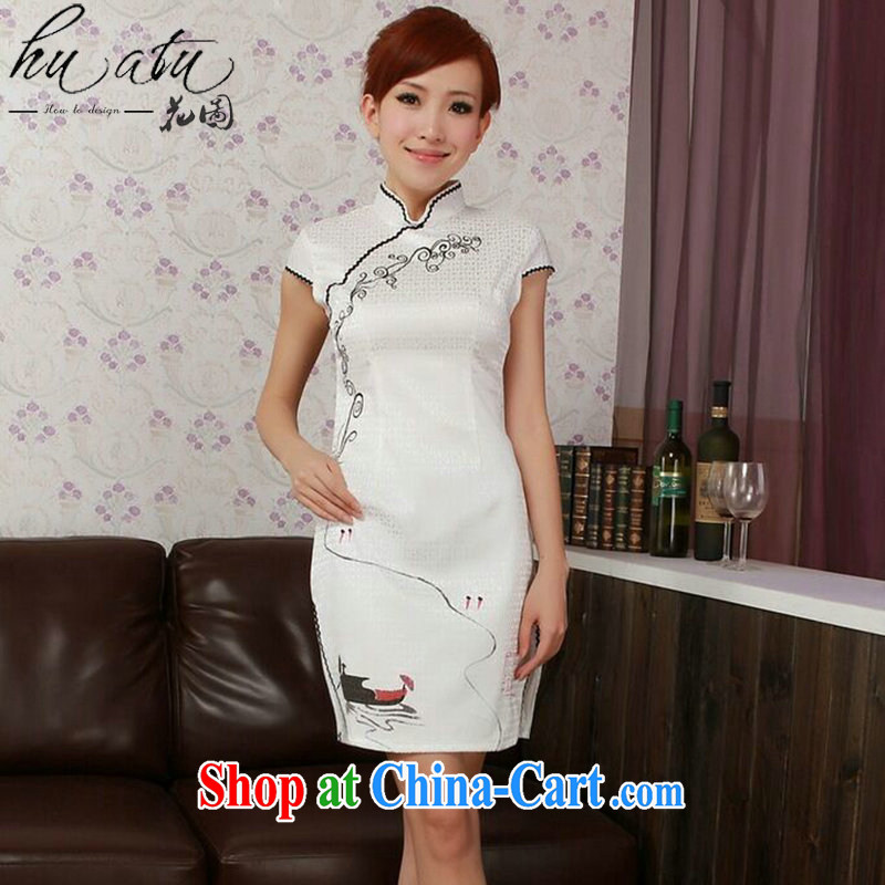 spend the summer cheongsam dress Chinese new cotton hand-painted Chinese improved, for low-power's short dresses, such as the color 2 XL