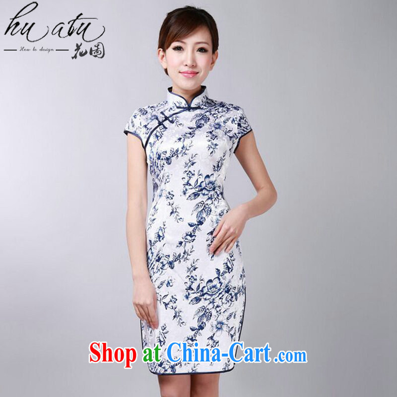 spend the summer new cheongsam dress Chinese improved blue and white porcelain Chinese, for a tight cotton short dresses such as the color 2 XL