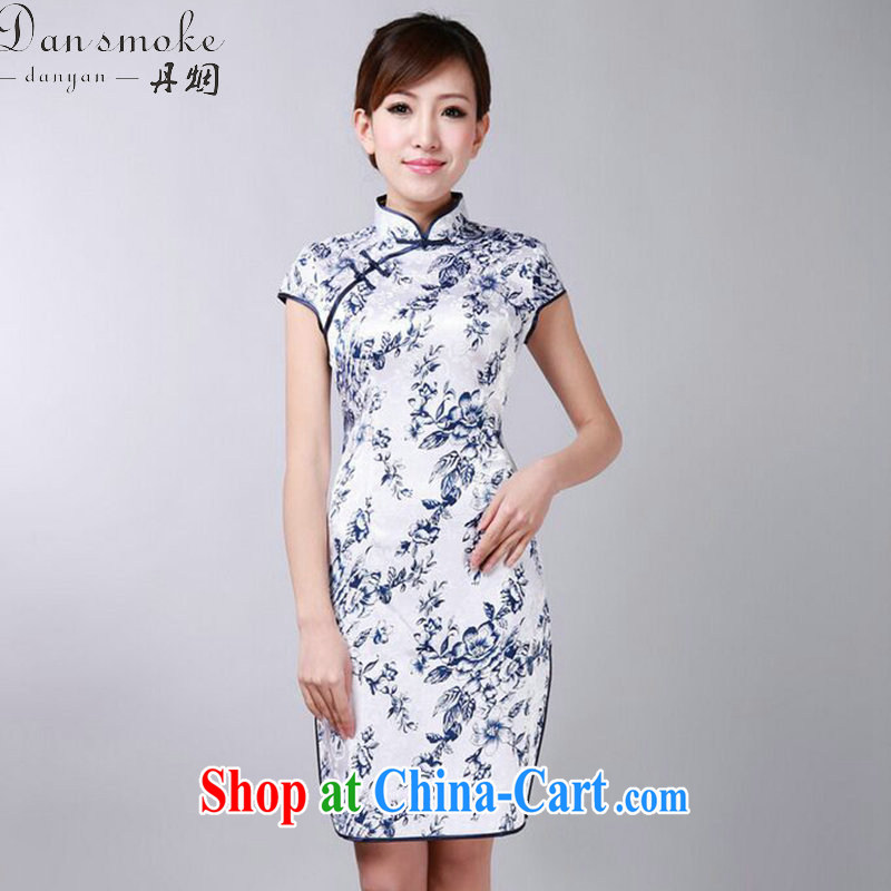 Bin Laden smoke summer new cheongsam dress Chinese improved porcelain was Chinese, for a tight cotton short cheongsam as color 2XL