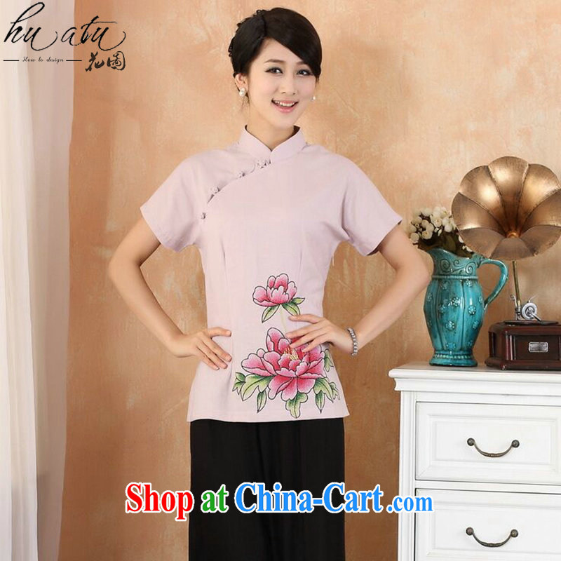 spend the summer new hand-painted cheongsam Chinese T-shirt cotton the larger Chinese female improved Han-chinese - 3 purple 4 XL