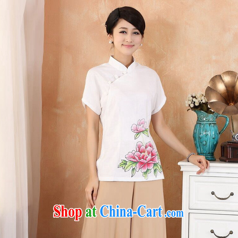 Dan smoke-free summer new hand-painted cheongsam Chinese T-shirt cotton mA maximum code Chinese female improved Han-chinese - 2 white 4XL