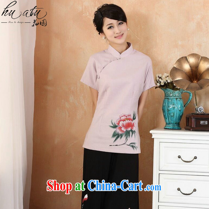Dan smoke hand-painted dresses T-shirt summer, new cotton the larger Chinese female improved Han-tang Ms. - 3 purple 4 XL