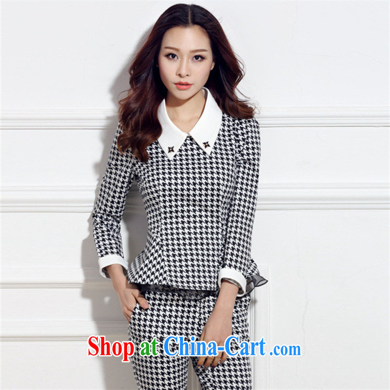 Qin Qing store 2015 spring new Korean female 1000 birds, 7 cuffs two-piece model features XXL