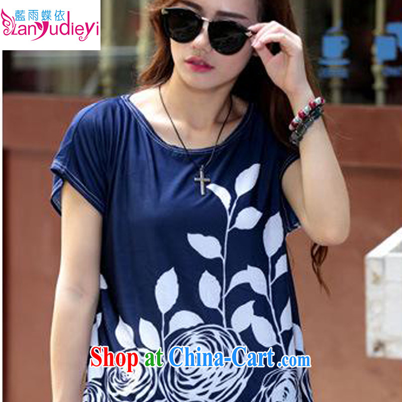 Summer 2015 New Paragraph Style in Europe and middle-aged and older persons mom with short-sleeves shirt T female ice's code t-shirt dark blue are code