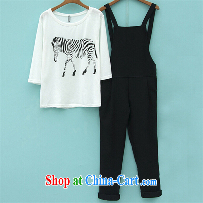 2015 new spring and summer Korean female 100 7 ground-cuff zebra pattern T shirts shoulder straps two sets of picture color XL