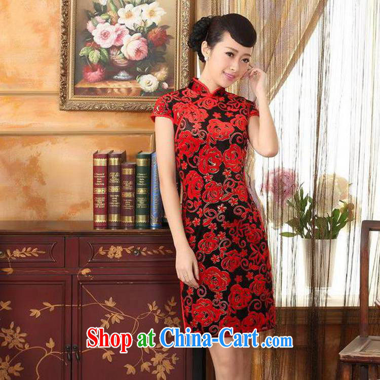 According to fuser new Chinese improved Chinese qipao stretch the wool stylish classic short-sleeved short cheongsam dress LGD/TD #0043 figure 2 XL pictures, price, brand platters! Elections are good character, the national distribution, so why buy now enjoy more preferential! Health