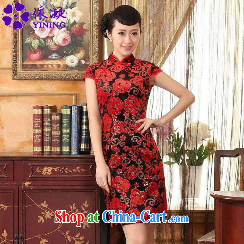 According to fuser new Chinese improved Chinese qipao stretch the wool stylish classic short-sleeved short cheongsam dress LGD/TD #0043 figure 2 XL, fuser, and shopping on the Internet
