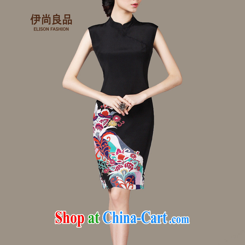 Iraq is still good, 2015 silk stamp duty in Europe and the elegant little dress sauna silk OL sleeveless improved cheongsam dress black M