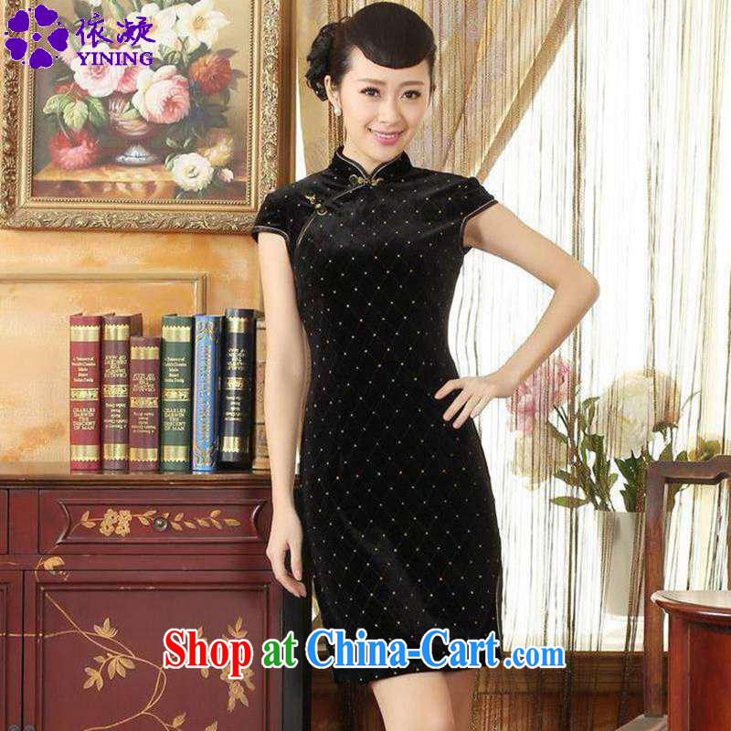 According to fuser stylish new ladies retro improved Chinese qipao, for a tight Classic beauty for short Chinese qipao dress LGD_TD 0044 _black 2 XL