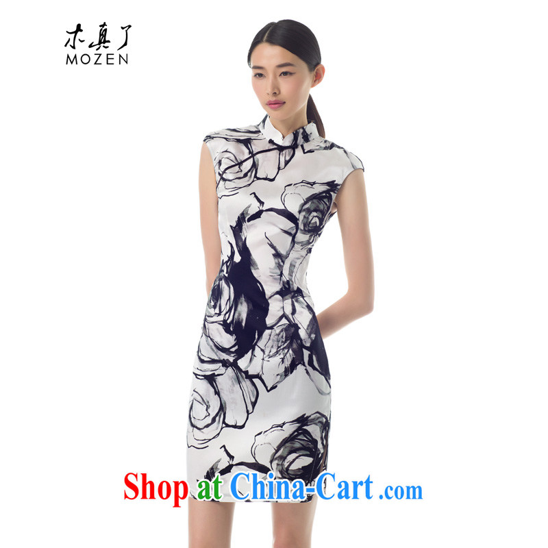 Wood is really the female improved cheongsam dress 2015 new ink stretch Silk Cheongsam dress girls summer 32,311 03 cream XXL _A_