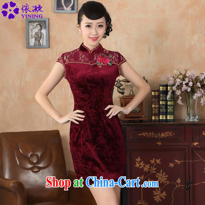 To fuser summer new female improved daily beauty embroidery lace Chinese qipao dress LGD_D 0256 _wine red 2 XL