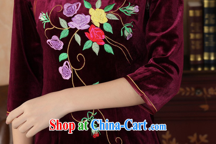 According to fuser stylish new clothes improved daily Chinese qipao stretch the silk embroidered beauty in short sleeves cheongsam dress LGD/TD 0042 # -A black 2 XL pictures, price, brand platters! Elections are good character, the national distribution, so why buy now enjoy more preferential! Health