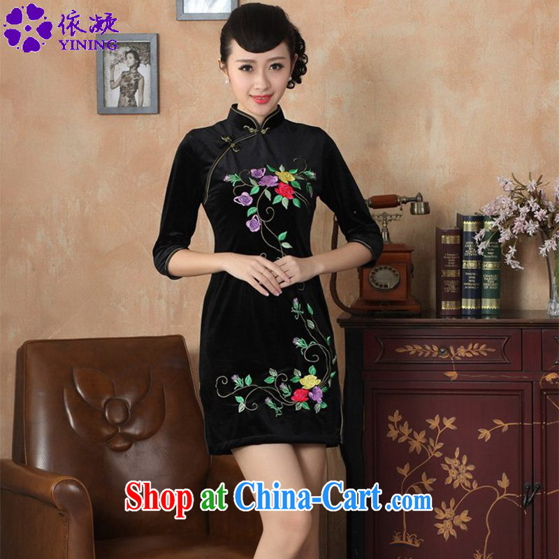 According to fuser stylish new clothes improved daily Chinese qipao stretch the silk embroidered beauty in short sleeves cheongsam dress LGD_TD 0042 _ -A black 2 XL