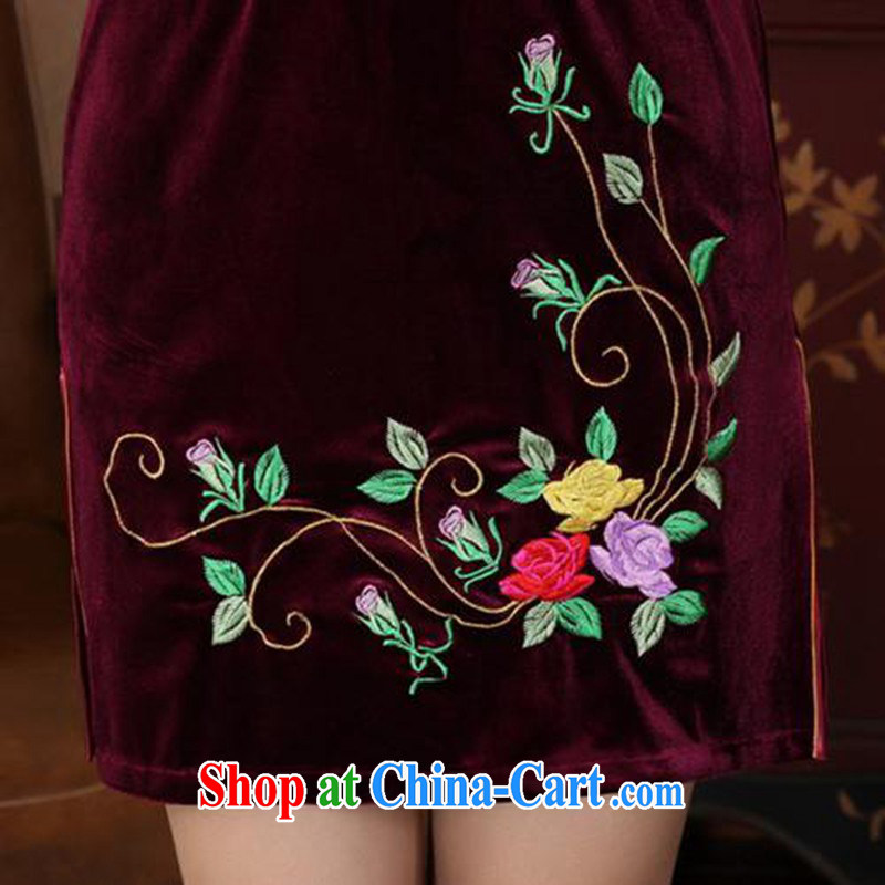 According to fuser and stylish new women with improved daily Chinese qipao stretch the silk embroidered beauty in short sleeves cheongsam dress LGD/TD 0042 # -A black 2 XL, according to fuser, online shopping