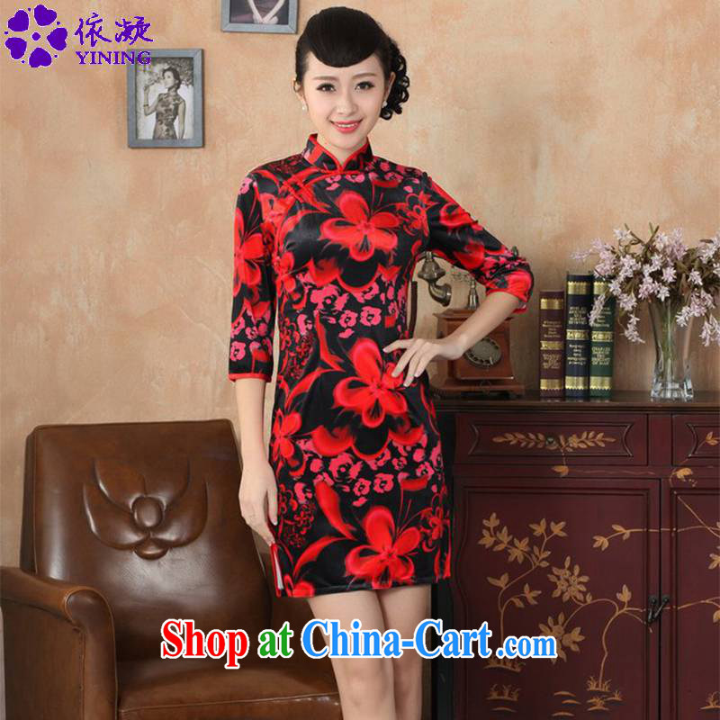 According to fuser stylish new clothes improved Chinese qipao solid-aggressive really scouring pads 7 cuff cheongsam dress LGD_TD 0041 _red 2 XL
