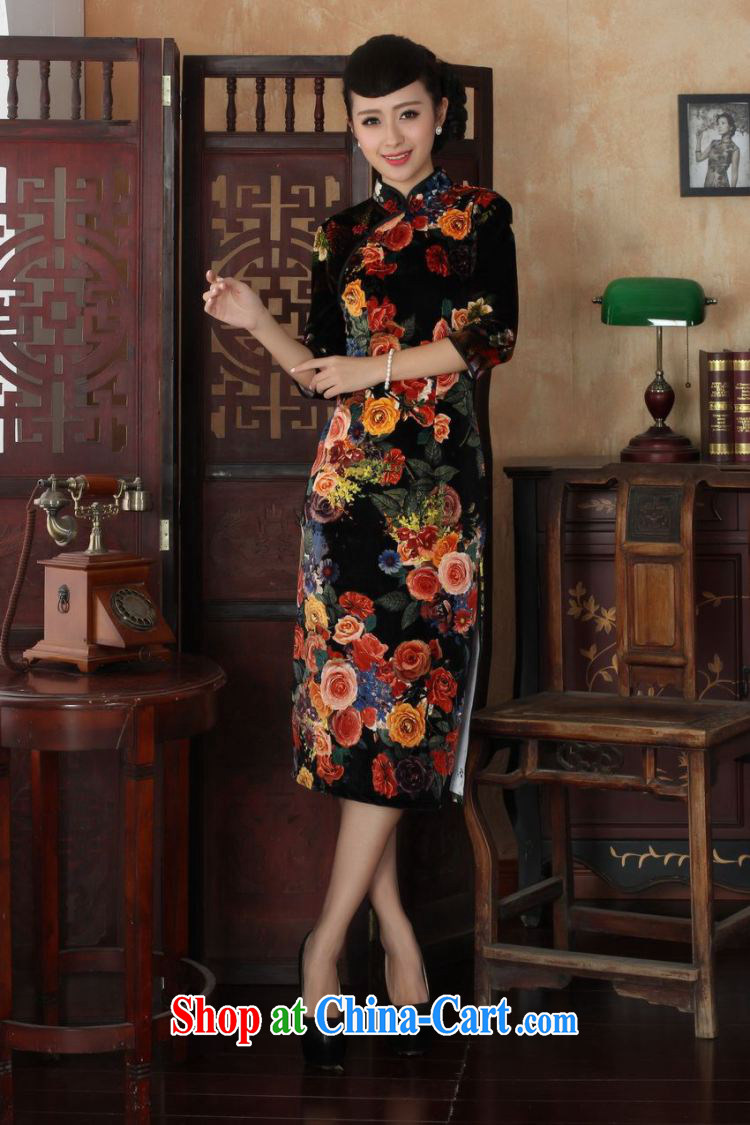 Under the fuser and stylish new female Chinese qipao stylish classic stretch gold velour poster 7 sub-cuff cultivating cheongsam dress LGD/TD #0040 figure 2 XL pictures, price, brand platters! Elections are good character, the national distribution, so why buy now enjoy more preferential! Health