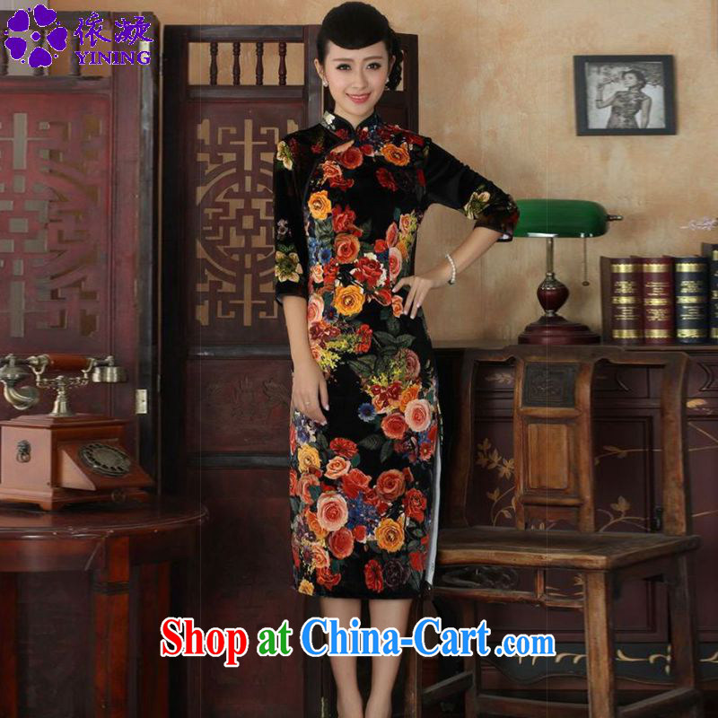 According to fuser stylish new female Chinese qipao stylish classic stretch gold velour poster 7 cuff cheongsam beauty skirt LGD/TD #0040 figure 2 XL
