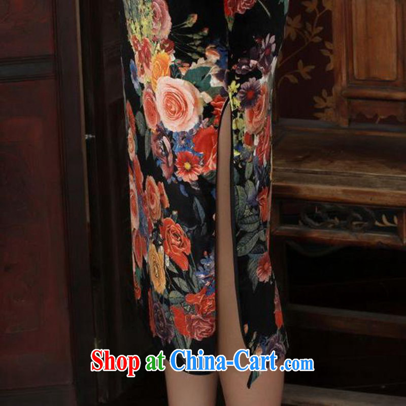 According to fuser and stylish new female Chinese qipao stylish classic stretch gold velour poster 7 sub-cuff cultivating cheongsam dress LGD/TD #0040 figure 2 XL, fuser, and online shopping