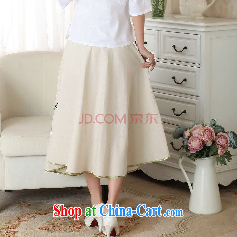 And Jing Ge summer new skirt summer dress new ground 100 ethnic wind cotton Ma hand-painted body skirt girls A field skirt picture color XL