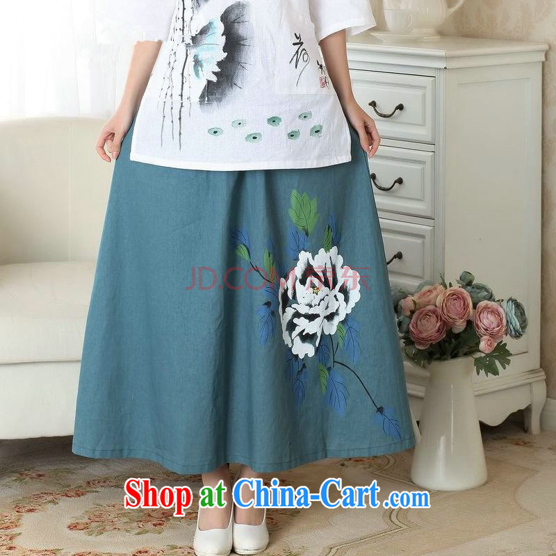 And Jing Ge older skirt summer dress body cotton Ma hand painted ethnic wind load mother dress picture color M