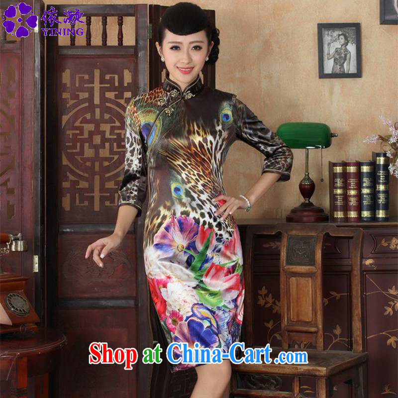 Under the fuser and stylish new female Ethnic Wind everyday dresses, velvet poster Sau San 7 cuff cheongsam dress LGD_TD 0037 _3 XL