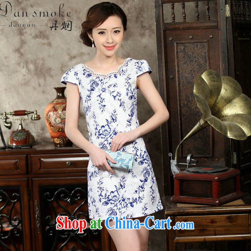 Bin Laden smoke summer new, improved day-short, Retro cheongsam dress with blue and white porcelain elegant cotton short cheongsam as color XL