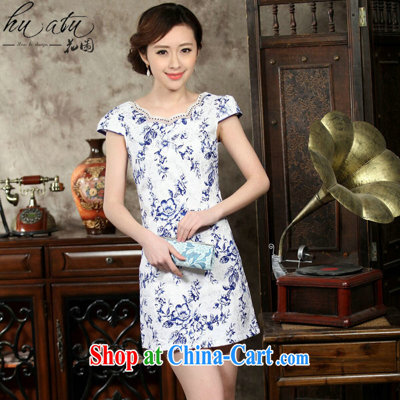 spend the summer with new, improved day-short, Retro cheongsam dress with blue and white porcelain elegant cotton short cheongsam figure color S