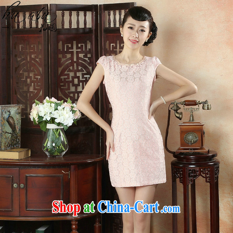 spend the summer improved stylish and elegant Chinese lace cheongsam dress lady round-collar style wedding dresses short dresses such as the color 2 XL