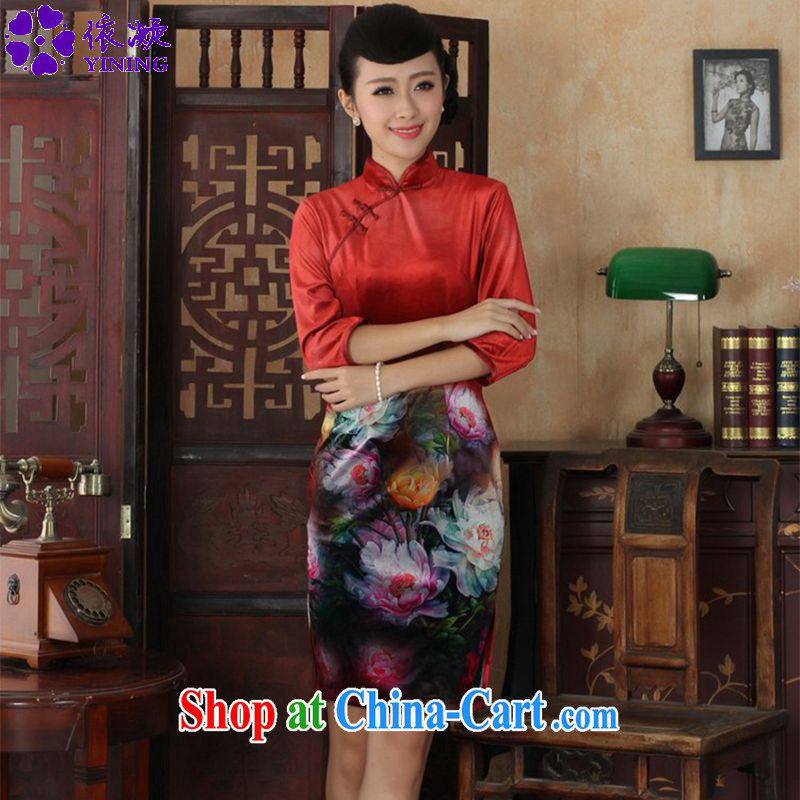 Under the fuser and stylish new Ethnic Wind improved female dresses, velvet poster 7 sub-cuff cultivating cheongsam dress LGD/TD 0034 #3 XL