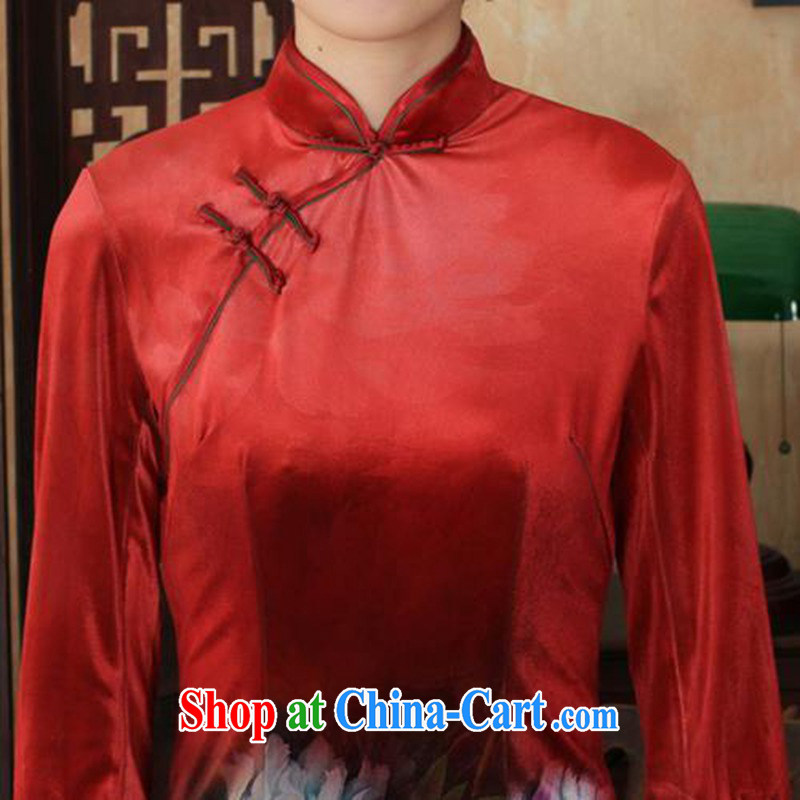 According to fuser and stylish new Ethnic Wind improved female dresses, velvet poster 7 sub-cuff cultivating cheongsam dress LGD/TD 0034 #3 XL, fuser, and shopping on the Internet