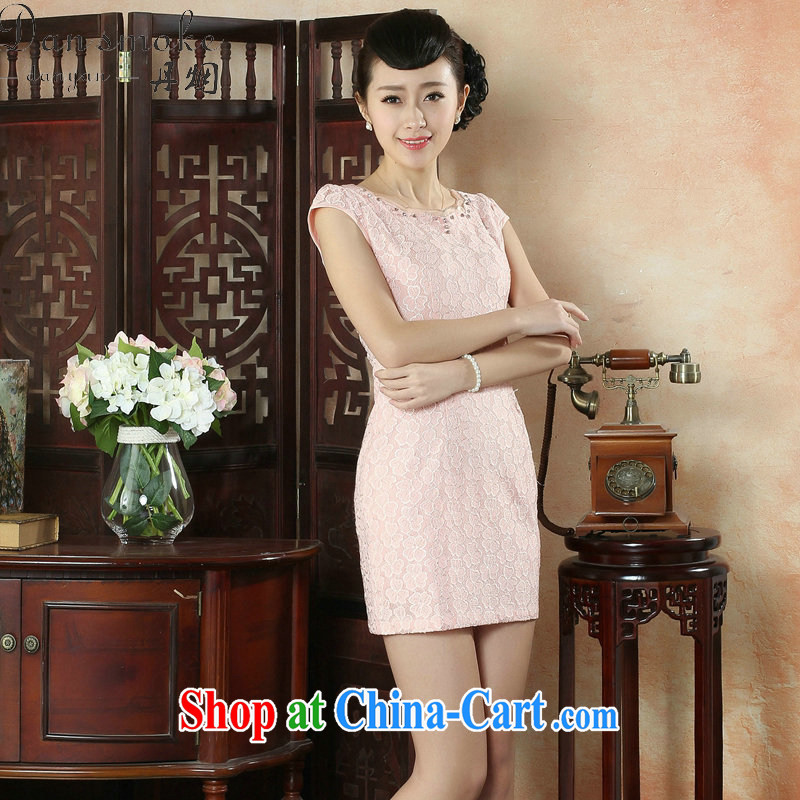 Dan smoke summer improved stylish and elegant Chinese lace cheongsam dress lady round-collar style dress short dresses such as the color 2 XL