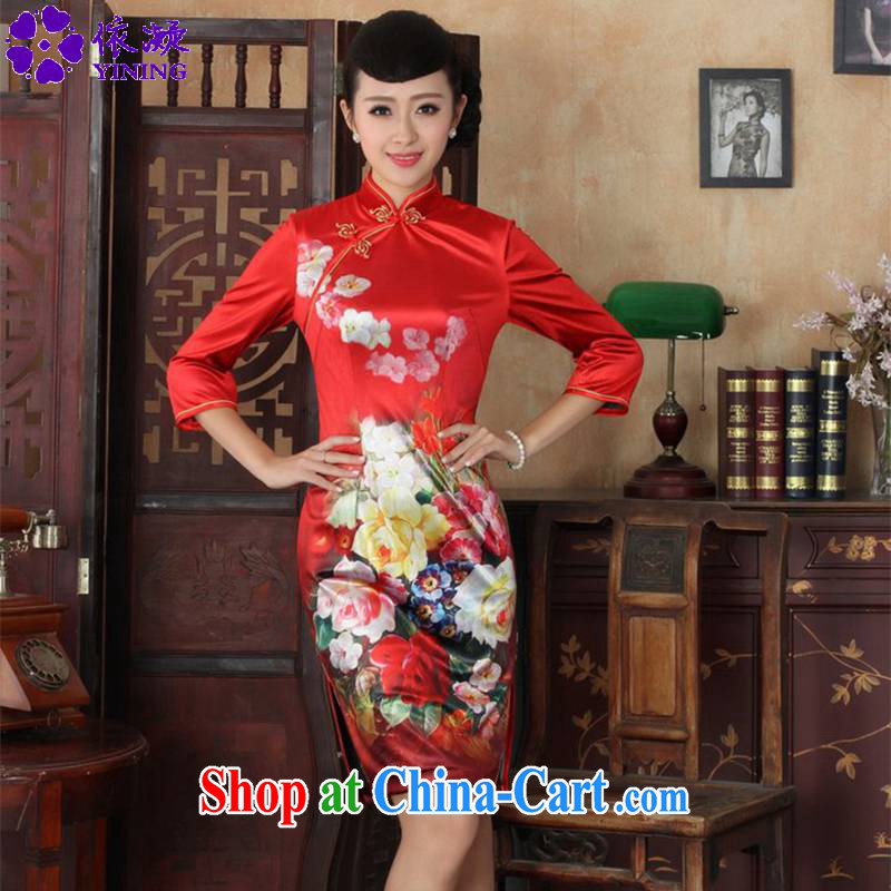 Under the fuser and stylish new ladies dresses Ethnic Wind-scouring pads poster cultivating 7 sub-cuff cheongsam dress LGD/TD #0033 figure 3 XL