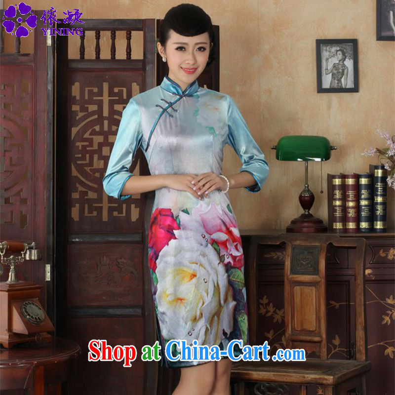 According to fuser stylish new ladies retro Ethnic Wind poster Kim wool beauty 7 cuff Chinese qipao dress LGD/TD #0030 figure 2 XL