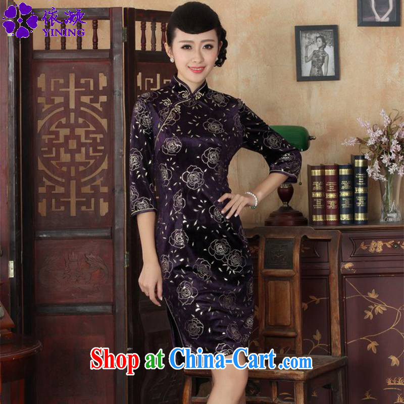 Under the fuser and stylish new Ethnic Wind female Chinese qipao, scouring pads beauty 7 sub-cuff cheongsam dress LGD/TD 0028 #3 XL