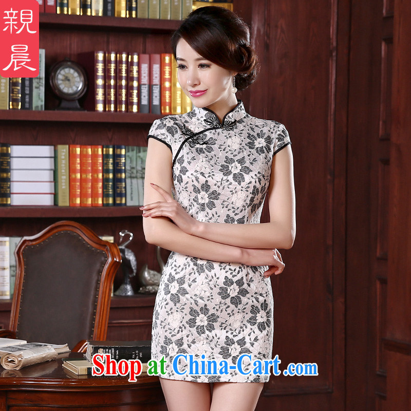 pro-am 2015 new lace cheongsam dress spring and summer short, short-sleeved daily girl cheongsam dress improved stylish short 2 XL