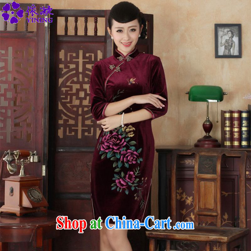 Under the fuser and stylish new female-stretch is really scouring pads, for a tight budget beauty 7 cuff Chinese cheongsam dress LGD_TD 0026 _wine red 3 XL
