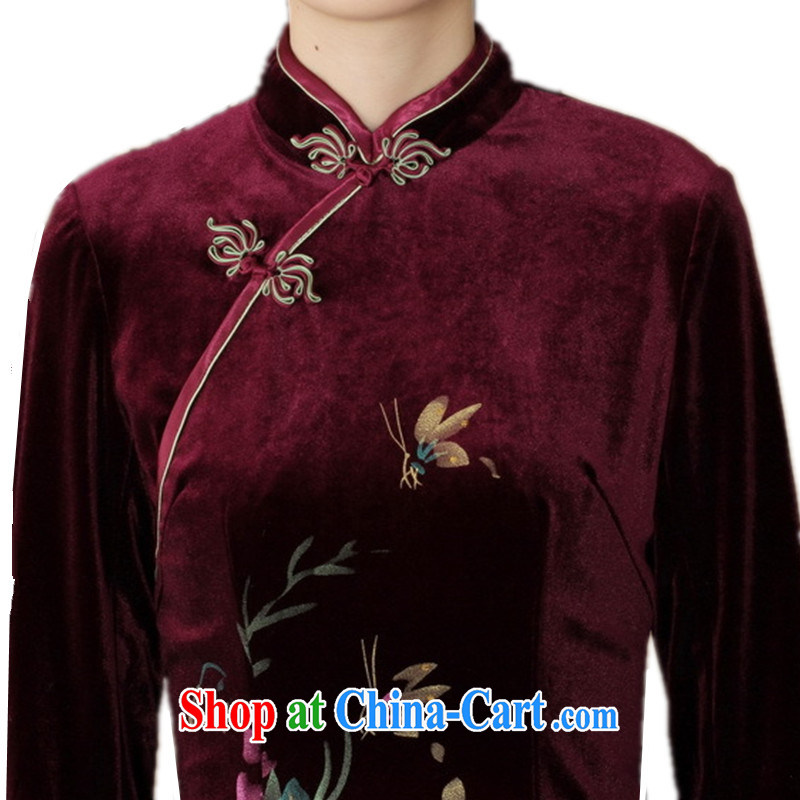 According to fuser and stylish new female-stretch is really scouring pads, for a tight cultivating 7 cuff with Tang cheongsam dress LGD/TD 0026 #wine red 3 XL, fuser, and shopping on the Internet