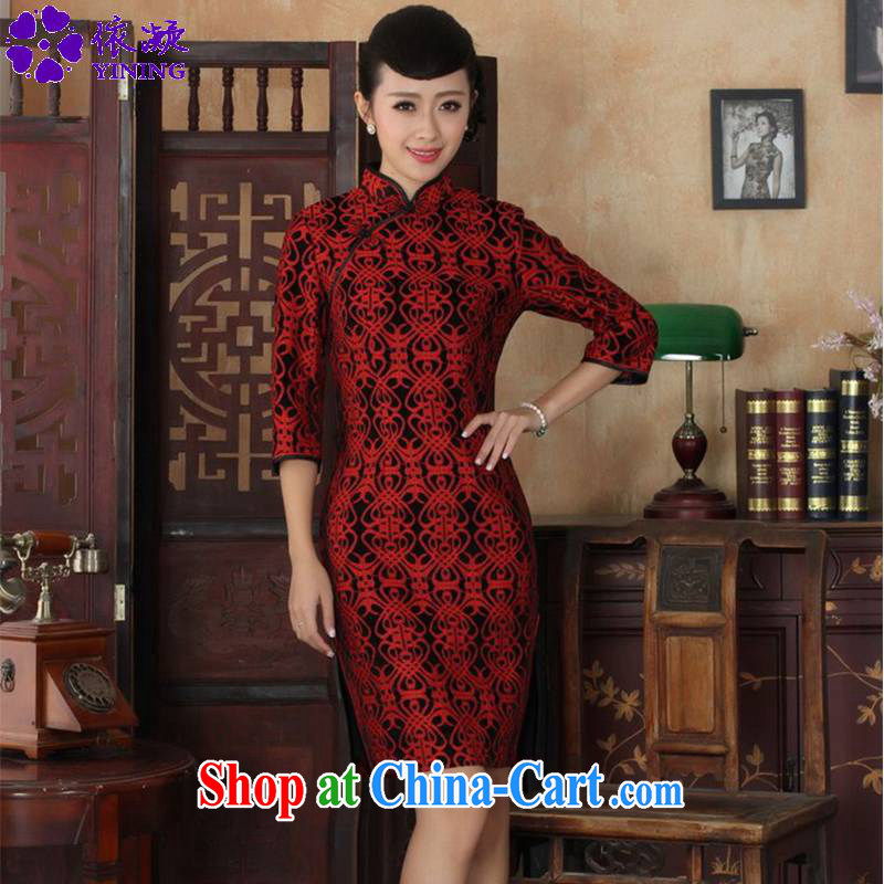 Under the fuser and stylish new ladies dresses Ethnic Wind lace gold velour 7 beauty cuff cheongsam dress LGD/TD 0025 #3 XL