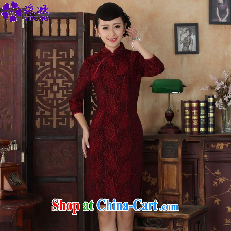 According to fuser Ethnic Wind and stylish new ladies dresses, for the hard-pressed lace gold velour cultivating 7 sub-cuff cheongsam dress LGD 90_TD 0024 _3 XL