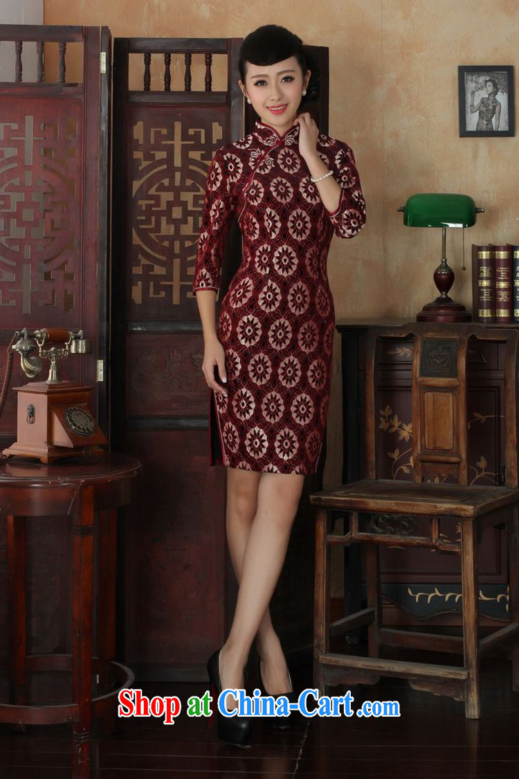 In accordance with fuser spring new female dresses Ethnic Wind lace gold velour cultivating 7 cuff cheongsam dress LGD/TD 0023 #3 XL pictures, price, brand platters! Elections are good character, the national distribution, so why buy now enjoy more preferential! Health