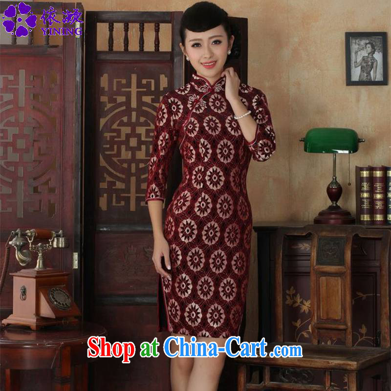 According to fuser spring new female dresses ethnic wind lace gold velour cultivating 7 sub-cuff cheongsam dress LGD/TD 0023 #3 XL