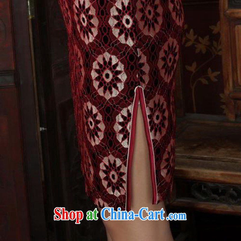 According to fuser spring new female dresses ethnic wind lace gold velour cultivating 7 sub-cuff cheongsam dress LGD/TD #0023 figure 3 XL, fuser, and shopping on the Internet